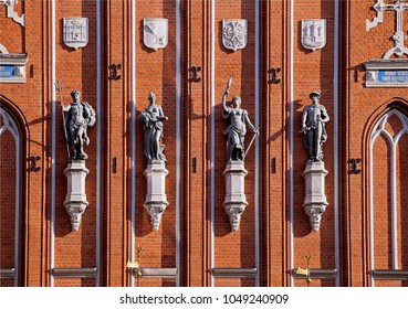 Statues of gods on the House of the Blackheads in Riga