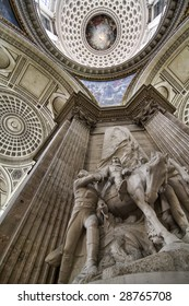 Statues of heroes of the French revolution inside the pantheon, Paris