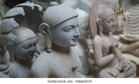 Statues of Hindu Gods and Goddess. Crafts and Arts of India. Murti handmade Manufacturing in Jaipur (Rajasthan). Indian God sculpture made of white marble. Ancient Traditions and Crafts of India
