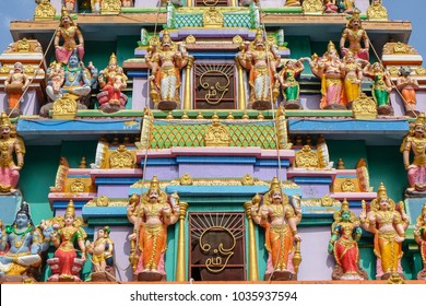 Statues of Hindu gods on Hindu temple in Pyin Oo Lwin, Myanmar