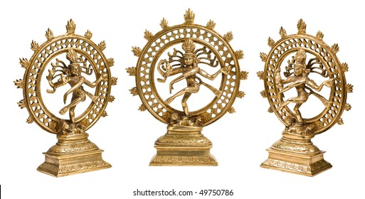 Statues of Indian Hindu god Shiva Nataraja - Lord of Dance isolated on white