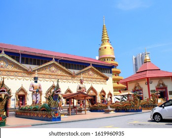 Statues of kinnaris, dragons and snakes-nagas Pavilion in Pulau Tikus, thai Buddhist temple Wat Chayamangkalaram, famous tourist attraction in Georgetown, Penang island, Malaysia