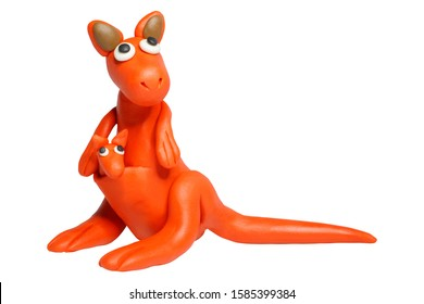 Statues like cute animals for children. Molding from plasticine. Cartoon characters, Kangaroo isolated on white background with clipping path.
