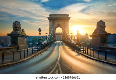 Statues of Lions on Chain Bridge in Budapest at sunrise, Hungary