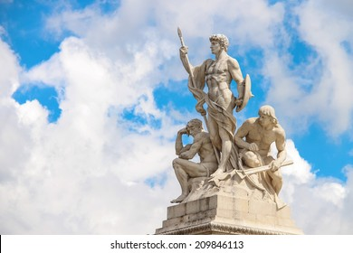 Statues in a monument to Victor Emmanuel II. Piazza Venezia, Rome