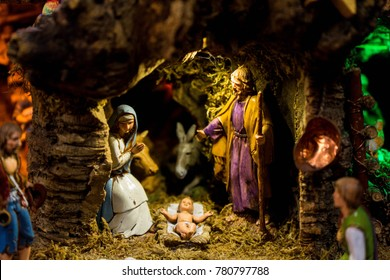 Statues of the nativity scene with baby Jesus