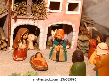 statues of the Nativity scene with Holy Family in South American style