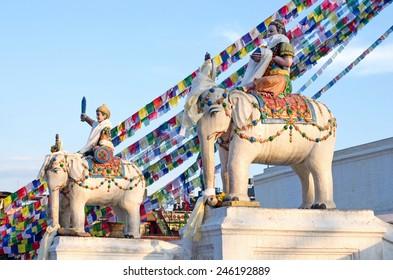 Statues near Buddhist Boudhanath Stupa in Kathmandu, Nepal