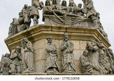 Statues on cavalry in Plougonven Parish close in Bretagne France