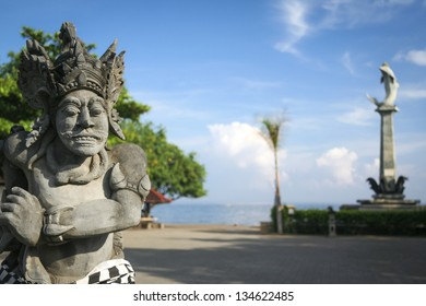 statues on the main square of lovina in northern bali indonesia
