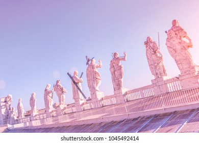 Statues on the roof of St. Peter's Basilica in Rome, Italy