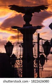 The statues of Orlov Most (Eagle Bridge) at sunrise, Sofia, Bulgaria