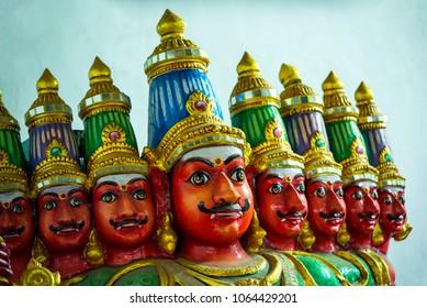 Statues of Ravan from Indian mythology Ramayanain, chennai, Tamil Nadu, South India