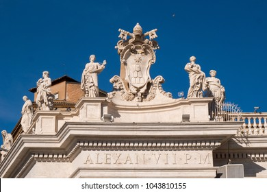 Statues surrounding Sant Peter's Square in Vatican City Rome Italy