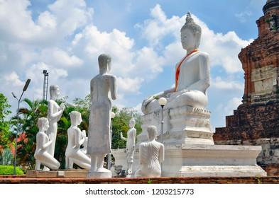 Statues at Wat Yai Chai Mongkhon in Ayutthaya, Thailand