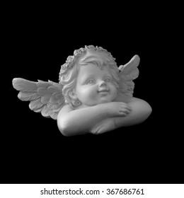 Statuette of angel in b/w