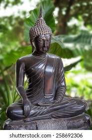 statuette of Buddha in a background of green foliage