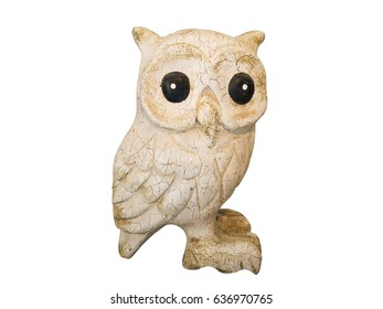 Statuette of a cute owl on a white background.