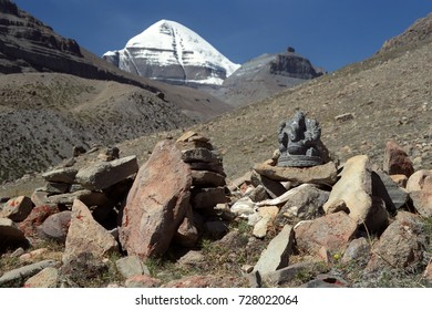 Statuette of Hindu god Ganesha was left by Indian pilgrims among the stones at the South Face of the Sacred Mount Kailash in Western Tibet.