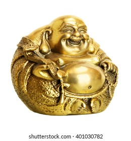 Statuette of Laughing Buddha isolated over the white background. Shallow DOF!