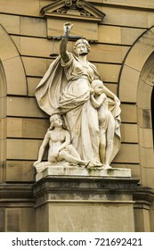Stature of justice in front of courthouse in Ulm, Germany