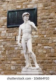 The stature of Michelangelo's David in Piazza della Signoria in Florence, Italy.