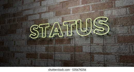 STATUS - Glowing Neon Sign on stonework wall - 3D rendered royalty free stock illustration.  Can be used for online banner ads and direct mailers.