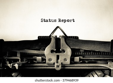 Status Report message typed on vintage typewriter
