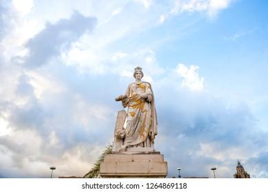 """""""Statuta Messina Riconoscente della Concessione del Porto Franco"""" - The Statue of Messina who recognized the concession of the Free Port, Sicily, Messina, Italy."""