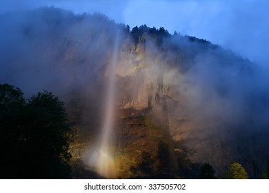 Staubbachfall near the village of Lauterbrunnen in the Bernese Alps in Switzerland is the second highest free-falling waterfall in Switzerland with a 300 meter drop.
