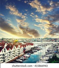 Stavanger bay at sunset, Norway. Travel background