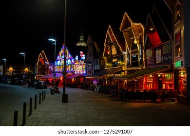 Stavanger city, Rogaland county, Norway - Desember 26, 2015: Bars and restaurants at the harbor are decorated with Christmas decorations in Stavanger city.