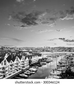 Stavanger at evening - beautiful town in the Norway. Black and white vintage style picture