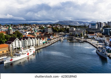 STAVANGER, NORWAY - 12 SEPTEMBER 2016 - a panoramic view of the city of Stavanger, in Norway.