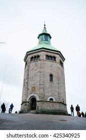 STAVANGER, NORWAY - APRIL 7, 2016: People visiting watchmen's museum in Valberg tower.