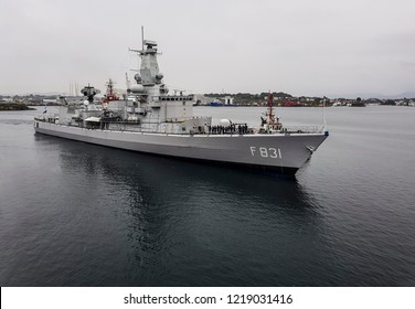STAVANGER, NORWAY, AUG 21: HNLMS Van Amstel (F831) is a ship of the Karel Doorman-class of multi-purpose frigates of the Royal Netherlands Navy enters Stavanger on the August 21st, 2018