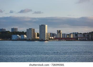 Stavanger, Norway - August 25 2017: The modern district on the shore of Stavanger from seaside