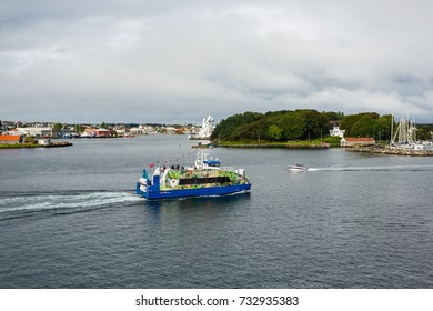 Stavanger, Norway - August 28 2017: Bird-eye view of the Flor and Flaere tourist ship in the bay of Stavanger