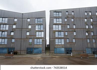 Stavanger, Norway - August 28 2017: Modern office buildings of Innovation Dock on the seaside of Stavanger, located on Bryggerikaien street 24