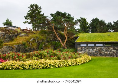 Stavanger, Norway - August 28 2017: House in the Flor and Flaere garden, the most visible landmark in Rogaland county of Norway, rainy weather