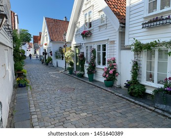 Stavanger, Norway - July 13. 2019: The old and historical part of Stavanger city (Gamle Stavanger). Famous tourist attraction.