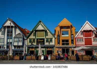 Stavanger, Norway - July 15. 2015: Old seahouses in Stavanger are now used for restaurants and bars. This image was taken during the food festival.