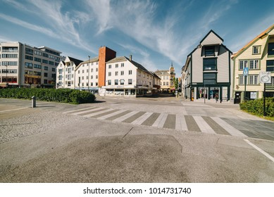 STAVANGER, NORWAY - July 17, 2015: Traditional wooden houses in Gamle Stavanger. Gamle Stavanger is a historic area of the city of Stavanger in Rogaland, Norway.
