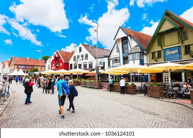 STAVANGER, NORWAY - JULY 22, 2017: Vagen old town in Stavanger. Stavanger is a city and municipality in Norway.