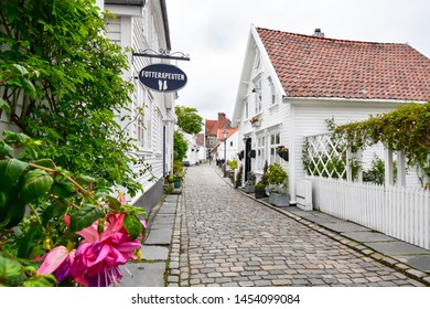 STAVANGER, NORWAY - JUN 1,2019 : Gamle Stavanger is a historic area of the city of Stavanger in Rogaland.Wooden buildings were built in the 18th century and in the beginning of the 19th century