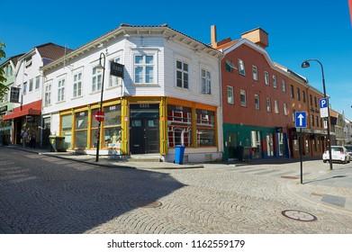 Stavanger, Norway - June 04, 2010: Exterior of the traditional wooden buildings in the downtown Stavanger in Stavanger, Norway.
