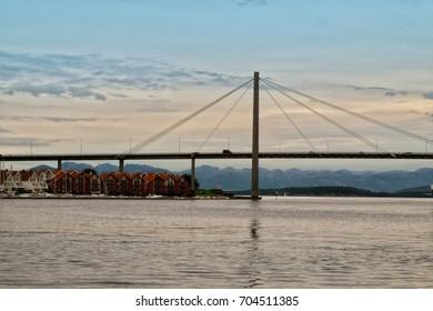 STAVANGER, NORWAY - June, 2017. View of Bybrua bridge at sunset