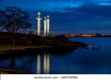 Stavanger, Norway - March 23. 2016 - Sverd i fjell (Swords in rock).The swords commemorate the historic Battle of Hafrsfjord that took place there in the year 872. The swords are 10 metres tall.