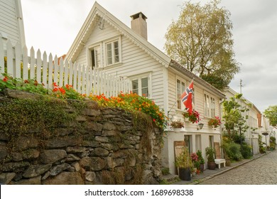 Stavanger, Norway - March 31, 2020: Trafitional historic wooden houses in Stavanger old town.