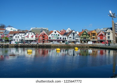 Stavanger, Norway - May 8th 2017: View of Stavanger Harbour bathed in sunshine.
